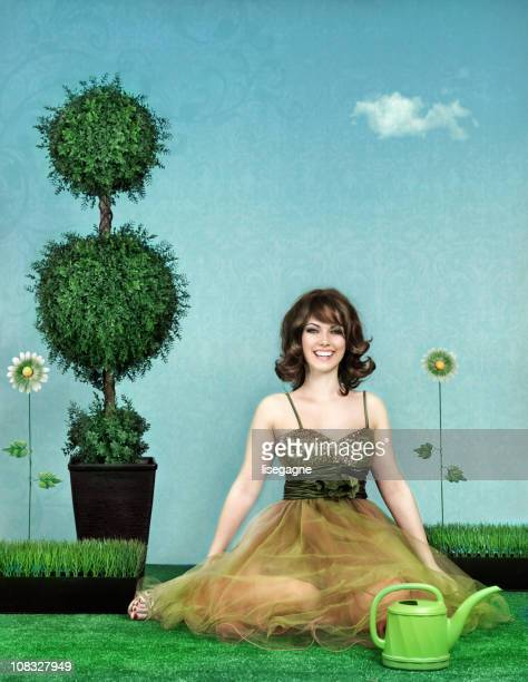 Woman in fake garden