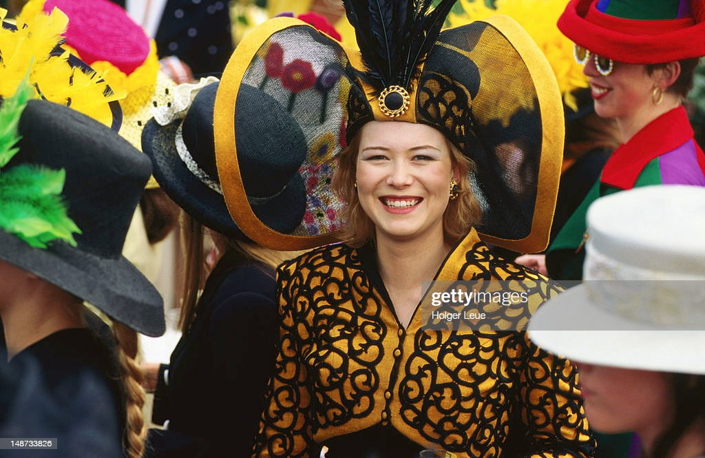 Woman in fashion contest at Melbourne Cup horse race, Flemington Racecourse.
