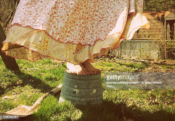 Upside Down Woman In Skirt Stock Photos And Pictures