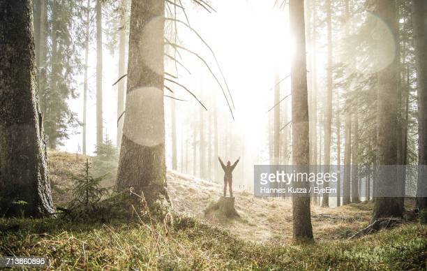 Woman In Forest Against Sky