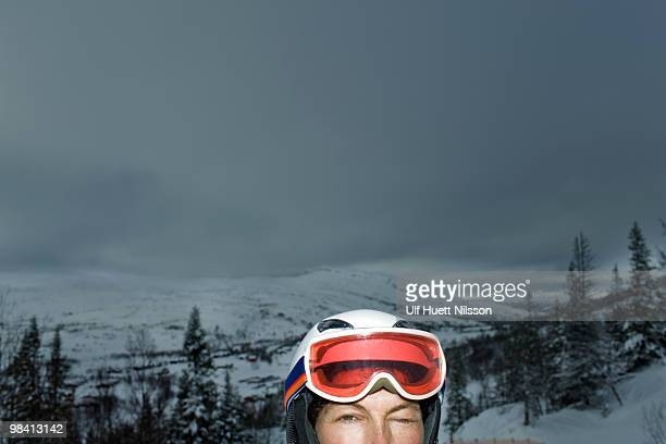 Woman in front of a mountain scenery Sweden.