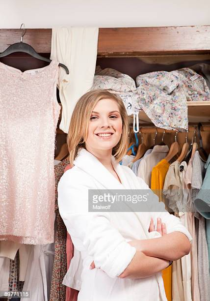 Woman in front of her closet