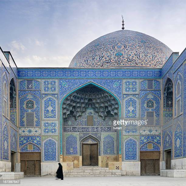 Woman in front of Sheikh Lotf Allah Mosque, Isfahan, Iran
