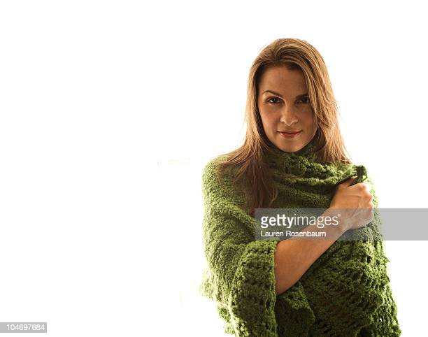 woman in green shawl