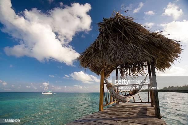 Woman in hammock on tropical water