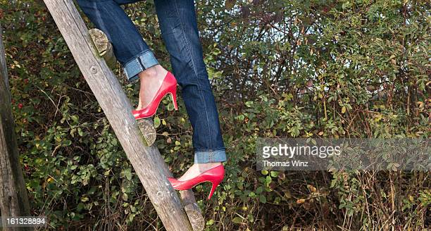 Woman in high heels climbing up wooden ladder
