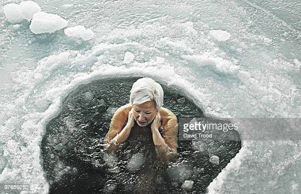 Woman in icy sea