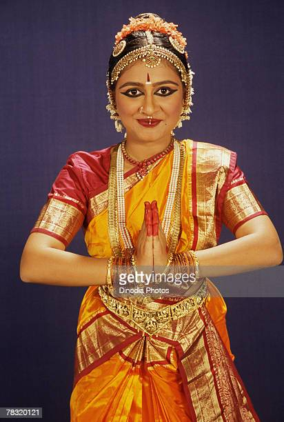 Woman in Indian Bharat Natyam dance costume
