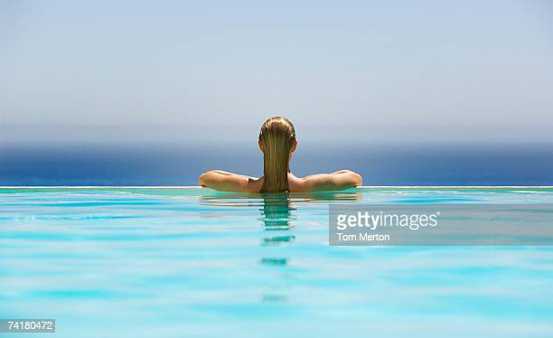 Woman in infinity pool