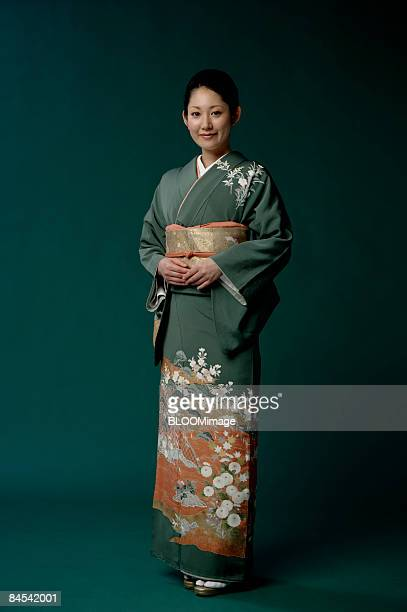 Woman in kimono, portrait, studio shot