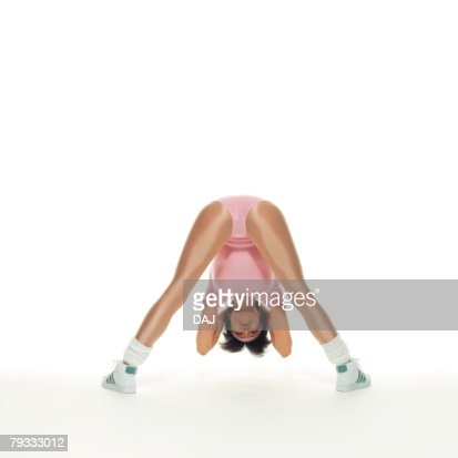A woman in Leotard exercising, Rear View, Copy Space : Stock-Foto