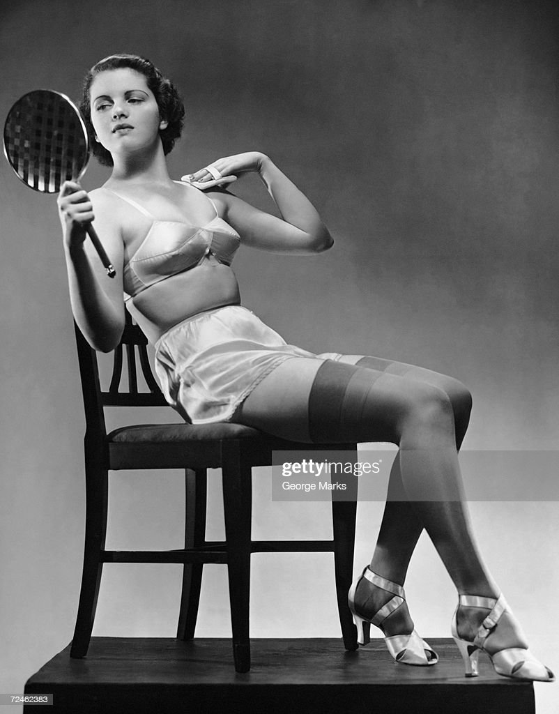 Showing vintage lingerie stocking tops girdle glimpse