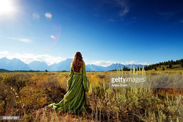 Woman in medieval gown faces mountains, rear view