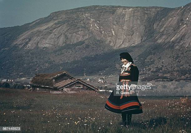 A woman in national dress in Setesdal southern Norway circa 1965