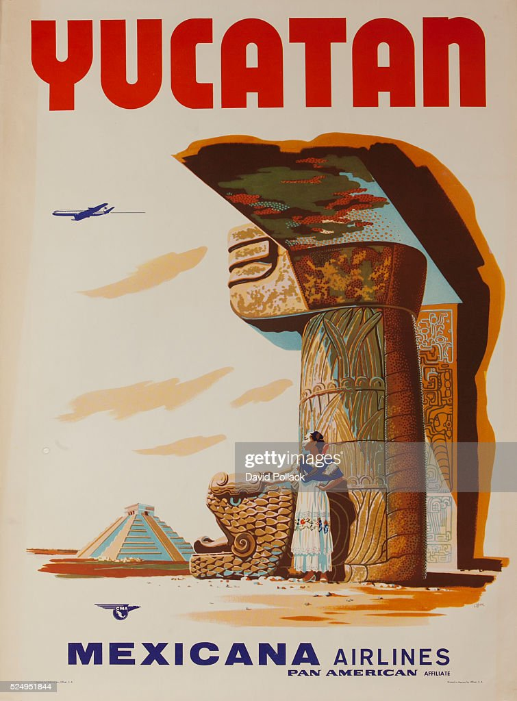 Woman in native costume stands in the shade of Mayan ruins. ca 1960s travel poster