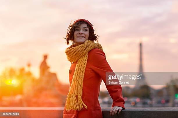 Woman in Paris with Eiffel Tower in the background
