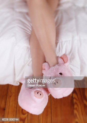 Woman in Pig Slippers