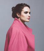 Woman in pink coat