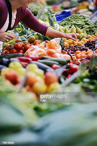 Woman in Produce Section of Supermarket