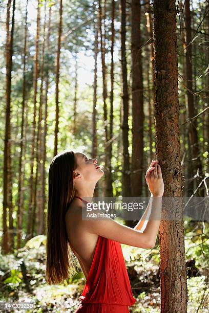 Woman in red dress looking up tree