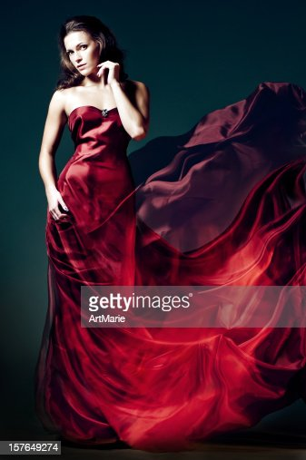Woman in red fire dress