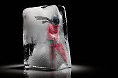 woman in red frozen in a block of ice