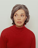 Woman in red jumper, (portrait)
