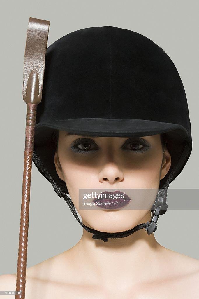 Woman in riding gear