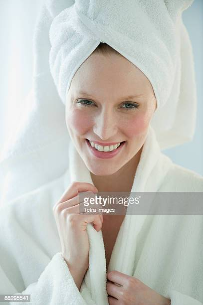 Woman in robe and towel