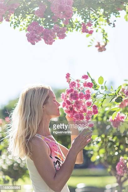 Woman in Rose garden