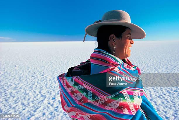 Woman in Salt Pan, Salar de Uyuni, Bolivia