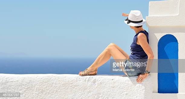 Woman in Santorini island