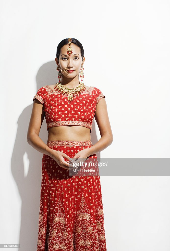 Woman in Sari and Indian Wedding Jewelry : Stock Photo