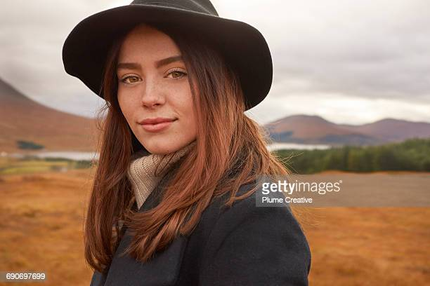 Woman in Scottish countryside