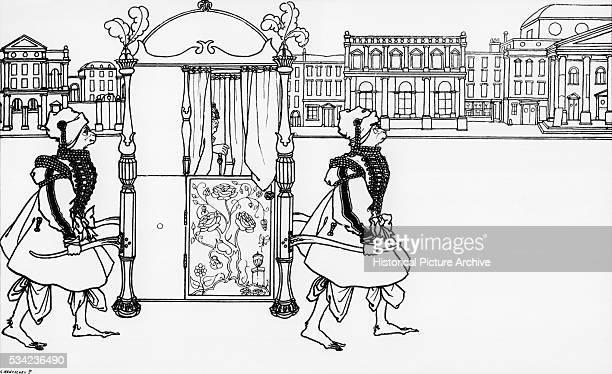 Woman in Sedan Chair carried by Monkeymen by Aubrey Beardsley