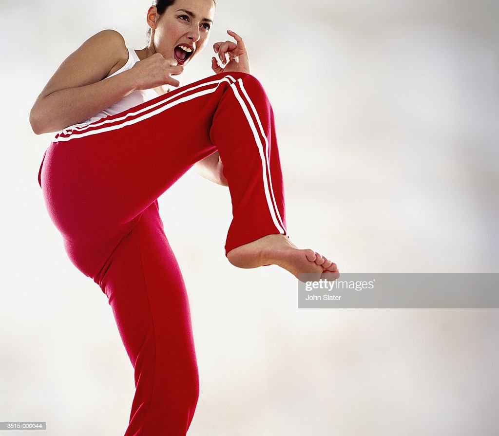 Woman in Self Defense Position : Stock Photo