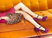 Woman in sofa