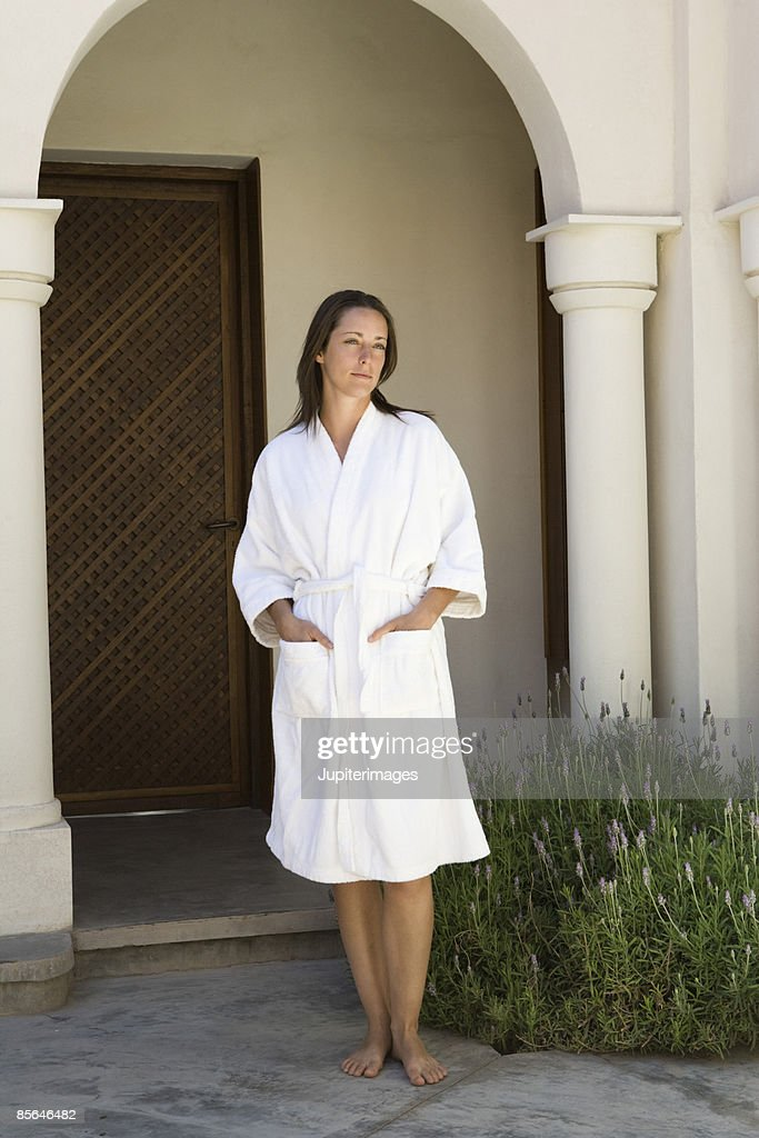 Woman in spa robe