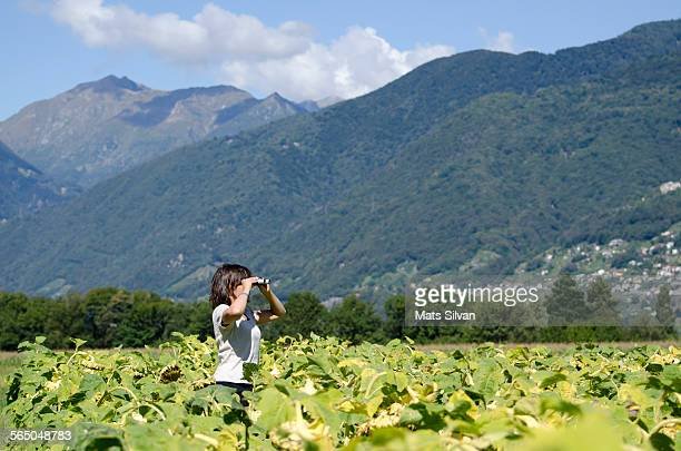 Woman in sunflower field with binoculars