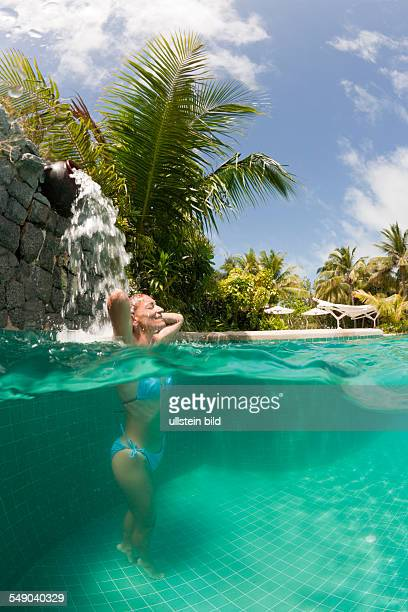 Woman in Swimming Pool South Male Atoll Maldives