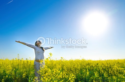 woman in the field : Stock Photo