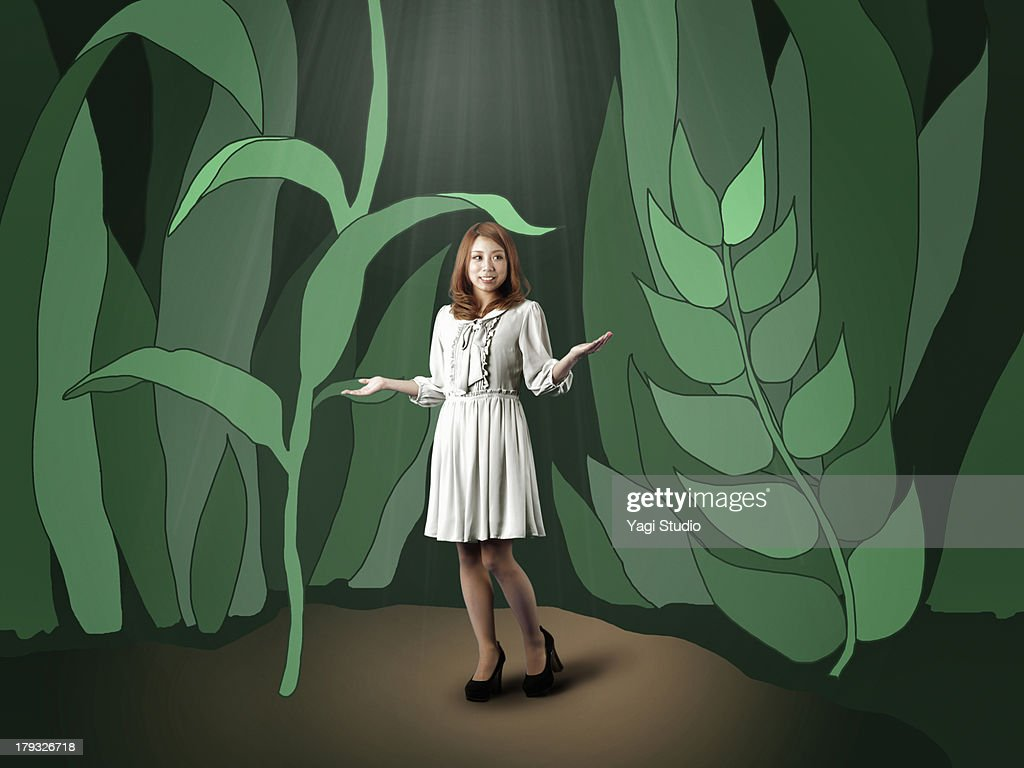 Woman in the forest : Stock Photo