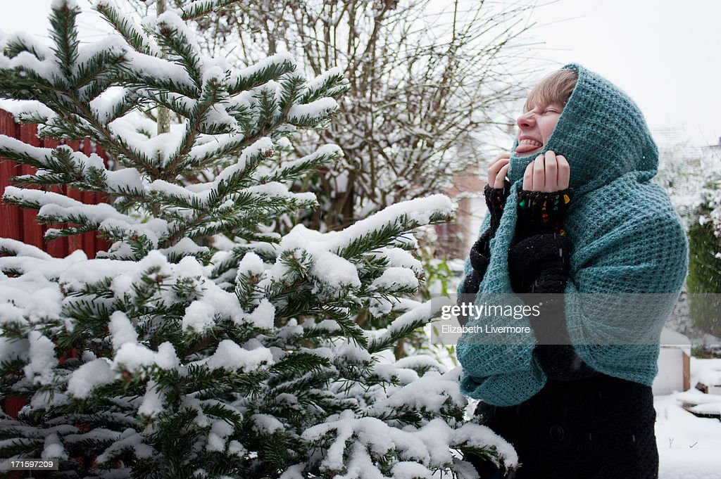 Woman in the snow : Stock Photo
