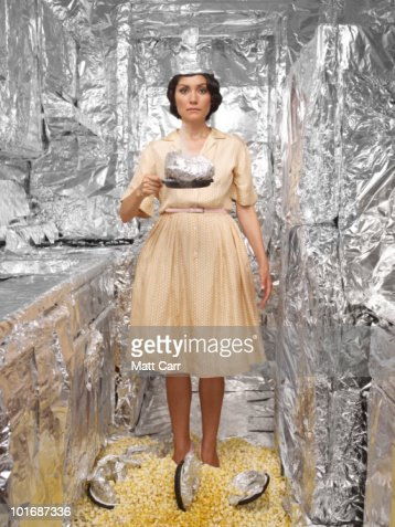 Woman in Tin foil room with Pop Corn