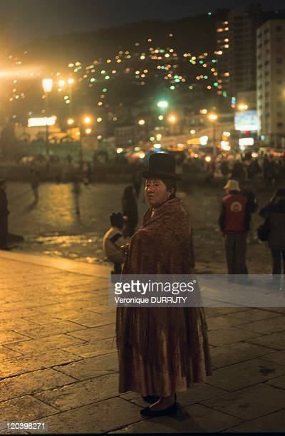 Woman in traditional costume San Francisco place La Paz Bolivia Traditional costume of the Indians in Bolivia ample skirt and small hat is in fact...