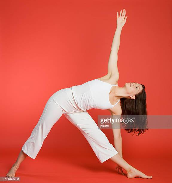 Woman in triangle pose