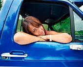 Woman in truck