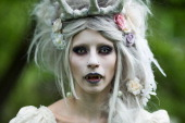 A woman in vampire makeup attends the traditional park picnic on the first day of the annual WaveGotik Treffen or Wave and Goth Festival on May 17...