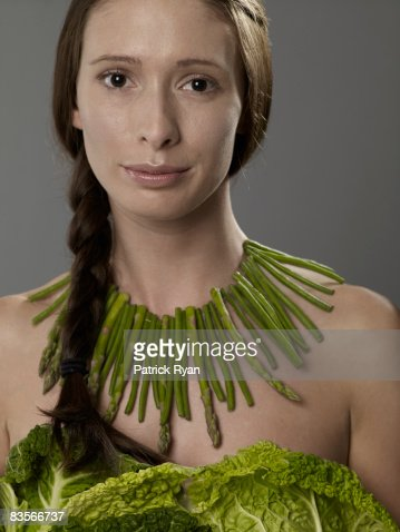 Woman in Vegetable Dress and Necklace : Stock Photo