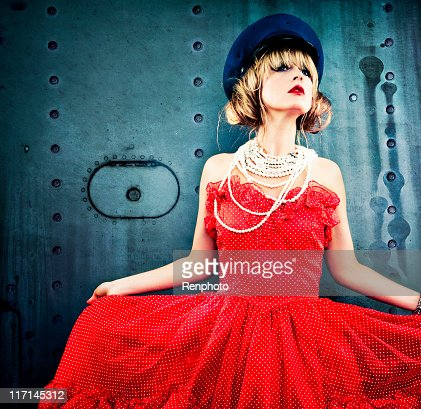 Woman in Vintage Red Dress : Stock Photo